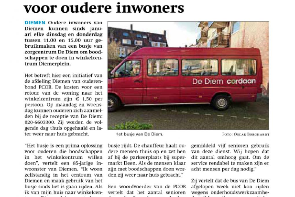'Boodschappenbusje' De Diem uitkomst voor oudere inwoners Diemen